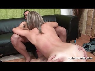 Amateur french milf in stockings deep analized double penetrated and facialized